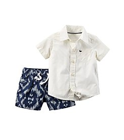 Carter's® Baby Boys 2-pc. Poplin Shirt And Printed Shorts Set