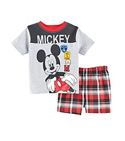 Nannette® Baby Boys' Mickey Mouse® Printed Tee and Plaid Shorts Set