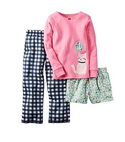 Carter's® Girls' 5-14 Plaid Cat 3-Piece Pajama Set