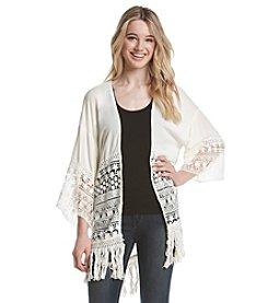 Skylar & Jade™ Crochet Kimono With Fringe Trim
