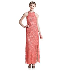 Morgan & Co.® Long Glitter Lace Dress