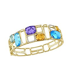 Effy® Mosaic Collection 0.23 ct. tw.  Diamond And Multi Gem Bangle In 14K Yellow Gold