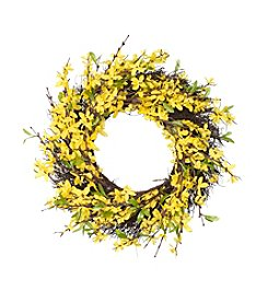 LivingQuarters Botanical Collection Yellow Forsythia Wreath
