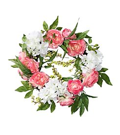 LivingQuarters Botanical Collection Ranunculus And Berry Wreath