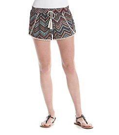 Boom Boom Printed Crochet Trim Shorts