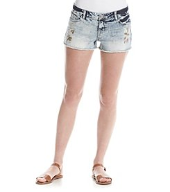 Hippie Laundry Floral Patched Denim Shorts