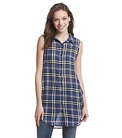 Hippie Laundry Plaid Gauze Tunic