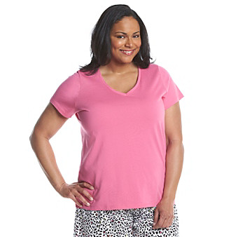 HUE® Plus Size Pajama V Neck Top plus size,  plus size fashion plus size appare