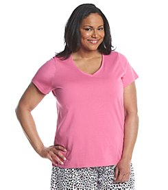 HUE® Plus Size Pajama V Neck Top
