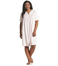 Miss Elaine® Plus Size Short Sleeve Zip Up Robe