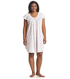 Miss Elaine® Plus Size Printed Short Sleeve Nightgown