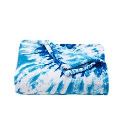 LivingQuarters Blue Tie-Dye Micro Cozy Throw