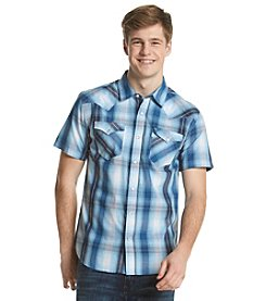 Levi's® Men's Two Pocket Western Plaid Leek Short Sleeve Button Down Shirt