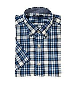 Nautica® Men's Short Sleeve Medium Plaid Button Down Shirt