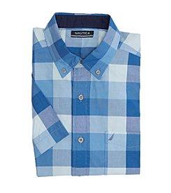 Nautica® Men's Short Sleeve Buffalo Plaid Pocket Button Down Shirt