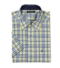 Nautica® Men's Short Sleeve Slub Pop Plaid Button Down Shirt