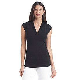 Vince Camuto® Cap Sleeve Pleated V-Neck Top