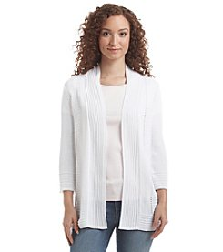 Notations® Open Front Pointelle Cardigan