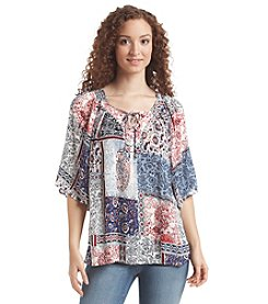 Notations® Patchwork Peasant Top