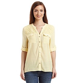 Notations® Roll Tab Lace Top