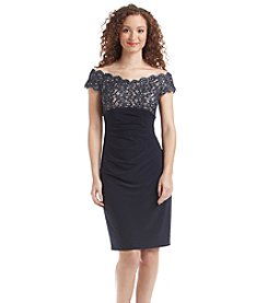 Xscape Lace Ruched Dress