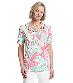 Alfred Dunner® Petites' Acapulco Abstract Leave Print Knit Shirt