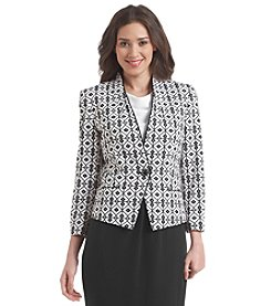 Nine West® One Button Jacquard Collarless Blazer