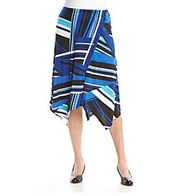 Notations® Plus Size Stripe Asymmetrical Hem Skirt