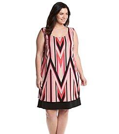 Notations® Plus Size Cross Back Chevron Dress