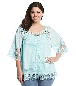 Democracy Plus Size Crochet Pullover Top