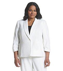 Nine West® Plus Size Solid Linen Jacket