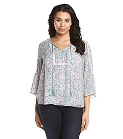 Jessica Simpson Plus Size Tabitha Printed Peasant Top
