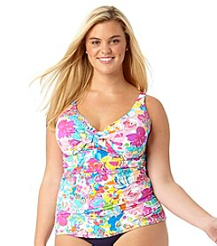 Anne Cole® Plus Size This Bud's For You Twist  Front Bandeaukini