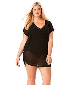 Anne Cole® Plus Size Mesh V-Neck Tunic
