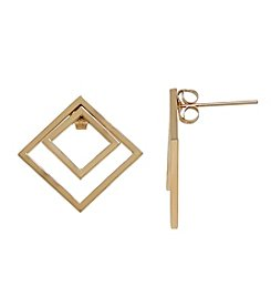 14k Yellow Gold Double Square Stud Earrings