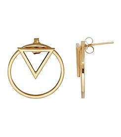 14k Yellow Gold Circle Earrings With Triangle Shape