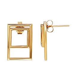 14k Yellow Gold Square Shape Within A Rectangle Earrings