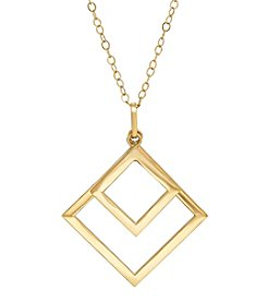 Fine Jewelry 14k Yellow Gold Double Square Shape Pendant