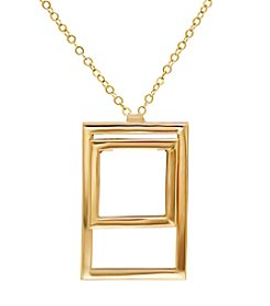 14k Yellow Gold Square Shape Within A Rectangle Pendant