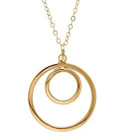 14k Yellow Gold Double Circle Shape Pendant