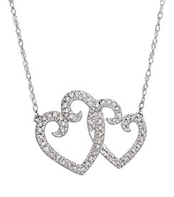 10k White Gold Double Heart 0.16 Ct. T.W. Diamond Necklace