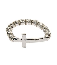 L&J Accessories Silvertone Sideways Cross Stretch Bracelet