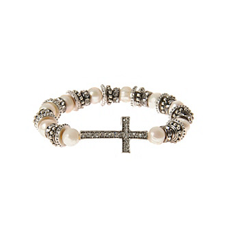 L & J Accessories Silvertone Sideways Cross And Simulated Pearl Stretch Bracelet