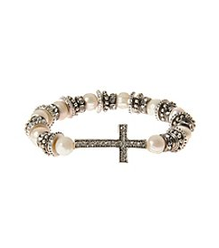 L&J Accessories Silvertone Sideways Cross And Simulated Pearl Stretch Bracelet