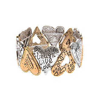 L & J Accessories Two Tone Heart Inspirataionl Stretch Bracelet