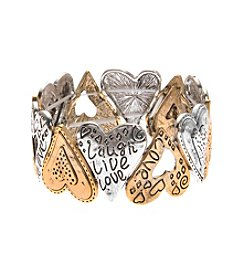 L&J Accessories Two Tone Heart Inspirataionl Stretch Bracelet