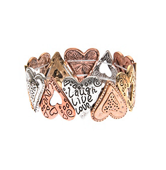 L & J Accessories Tri Tone Heart Links Stretch Bracelet