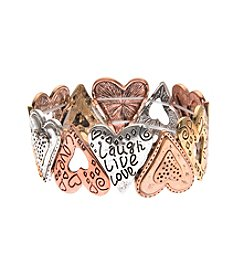 L&J Accessories Tri Tone Heart Links Stretch Bracelet
