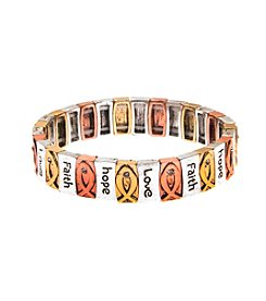 L&J Accessories Tri Tone Inspirational Stretch Link Bracelet