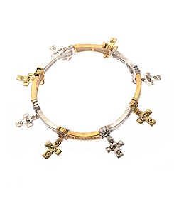 L&J Accessories Two Tone Inspirational Cross Charm Shaky Bracelet
